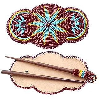 Handgefertigt Haarspange Holz Stick Handarbeit Samen Perlen braun Star Rosetten Haar Zubehör Z40/3