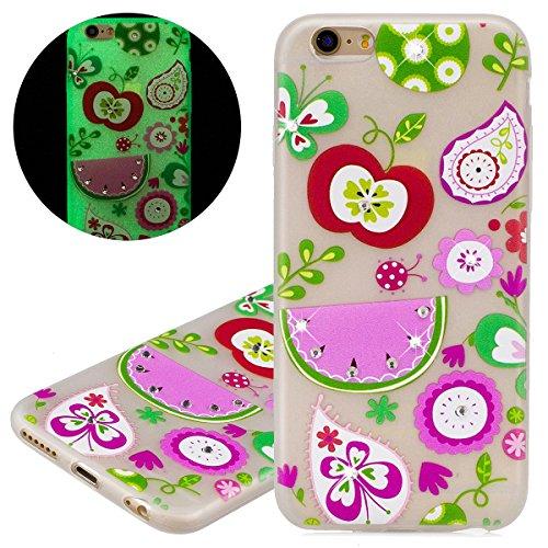 Custodia iPhone 6 - Cover iPhone 6S - ISAKEN Fashion Agganciabile Luminosa Custodia con LED Lampeggiante PU Pelle Portafoglio Tinta Unita Cover Caso per Apple iPhone 6(4.7), Luxury Protettivo Skin Cu frutta