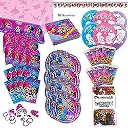 Shimmer and Shine Kleinkind Party Set XL 93-teilig für 8 Gäste Geburtstagsparty Deko Partypaket