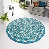 Zala Living ø140 Designer Velours Teppich Mandala Rund, Polypropylen, Blau, 140 x 140 x 0,9 cm