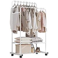 Solerconm Portant des vêtements en métal, Porte Manteau avec Crochets Amovible, penderie de rangements sur roulettes…