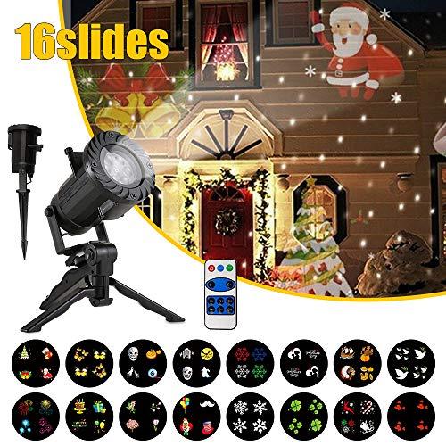 TECKEPIC LED Weihnachtslicht Projektor mit Slides Dynamische Wasserdichte Beleuchtung Scheinwerfer Nachtlicht für Weihnachten Halloween Geburtstags Party Hochzeit Urlaub Dekoration