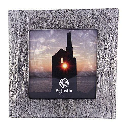 St Justin Kleine Zinn Bilderrahmen-Schiefer-Effekt Design-Kleinen Platz Zinn Metall Foto/Bild Rahmen für 78mm Foto