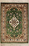 RugsTC 79 x 117 Pak Persan Tapis avec Pile de Soie et Laine - Design Floral | 100% Noué à la Main Authentique en Vert, Blanc, Couleurs Beige | catégorie 76 x 122...