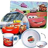 "4 tlg. Geschirrset - "" Disney Cars / Lightning McQueen - Auto "" - Porzellan / Keramik - Trinktasse + Teller + Müslischale + Platzdeckchen - Kindergeschirr - Frühstücksset für Kinder - Jungen - Eßgeschirr - Frühstücksgeschirr Geschirr - Service - Kinderservice / Frühstücksservice - Kinderset - Suppenteller / Kindergeschirrset - Müsli / Suppe - Frühstück & Abendessen - Fahrzeuge Jackson Storm / Francesco - Mc Queen - Finn - Autos - Rennwagen Sportwagen - Cruz Ramirez / Car"