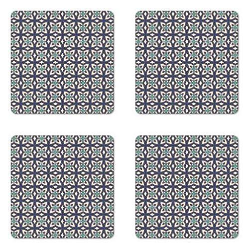 Lunarable Bohemian Untersetzer Set 4 Azulejo Fliesen Folk Mosaic Spanisch abstrakte osmanische Effekte quadratische Hartfaserplatte glänzend Untersetzer Getränke, Dunkelblau Grau Türkis