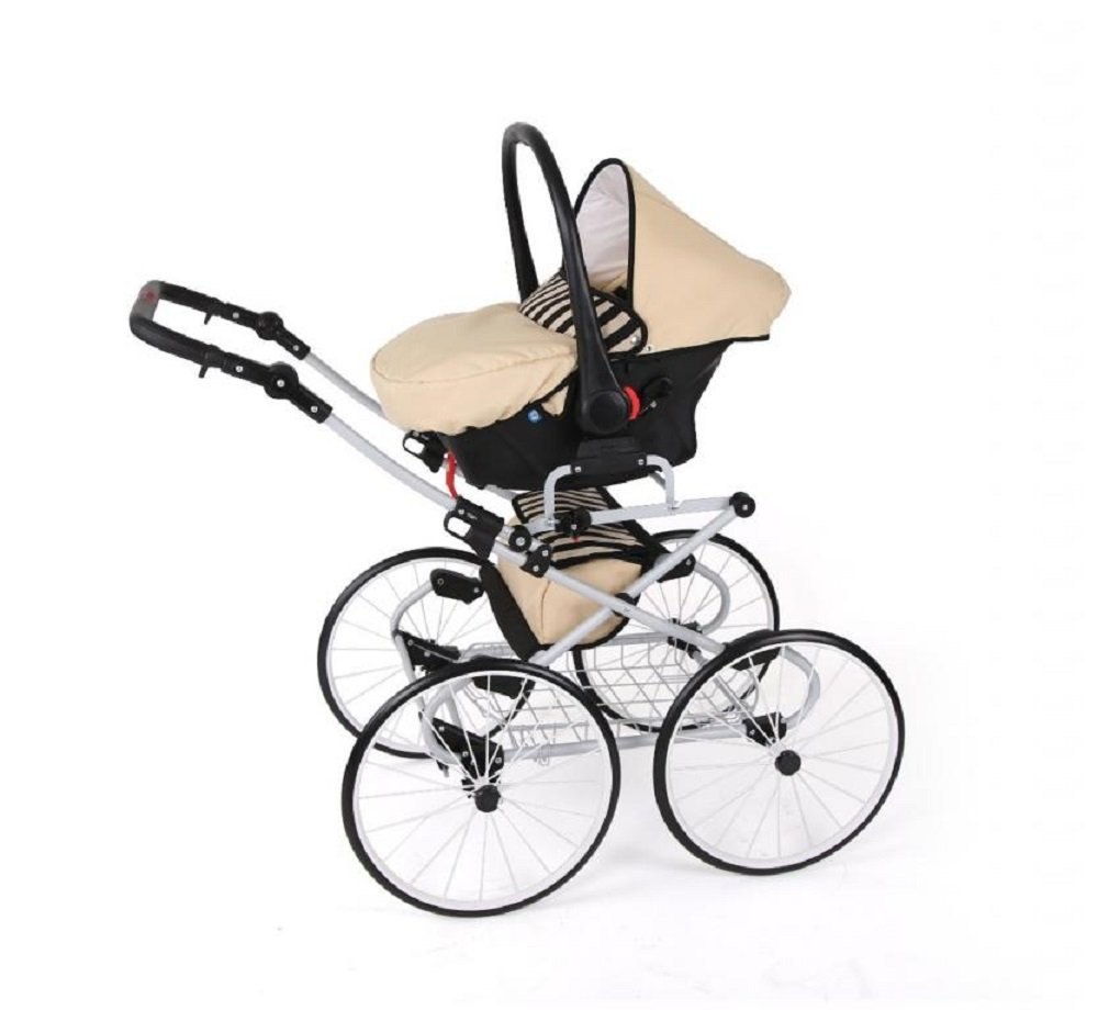 Hogartrend Romantic 17-Inch Wheel Baby Pram - 3 Piece Complete Set hogartrend A retro, classic and elegant style pram with all modern features. The kit includes:-chassis – large white 17-inch rubber wheels without air. - Carriage (canopy and cover)- Buggy (canopy and cover)- Pram (car seat with canopy and cover). 10