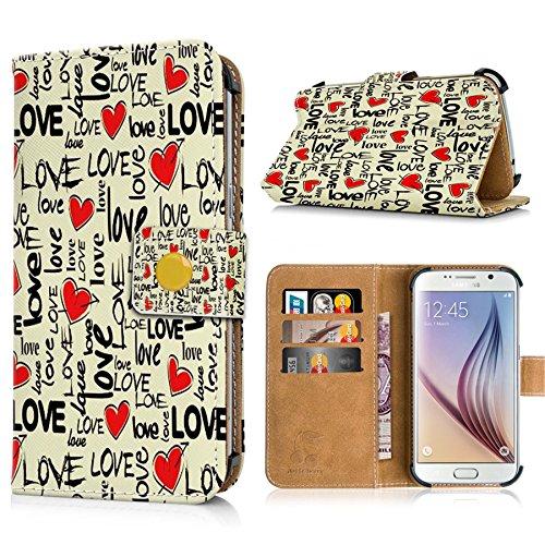 Apple iPhone 6s Handytasche mit Standfunktion, Magnetverschluss & Kreditkartenfächern. Schutzhülle Tasche Case Brieftasche Handyhülle / bunter Igel(334) Love(Hintergrund gelblich)