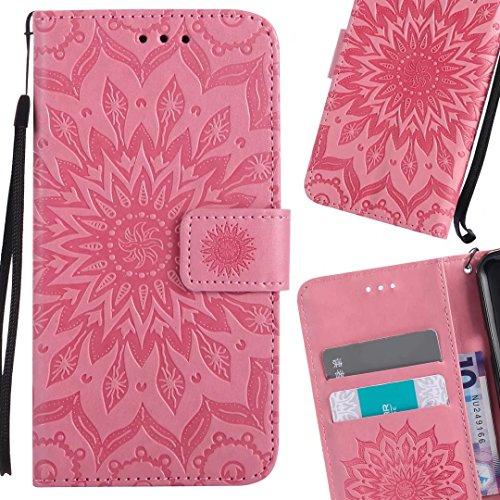LEMORRY Sony Xperia XZ1 / F8342 Custodia Pelle Cuoio Flip Portafoglio Borsa Sottile Bumper Protettivo Magnetico Morbido Silicone TPU Cover Custodia per Sony Xperia XZ1 / F8342, Fiorire (Rosa) Rosa