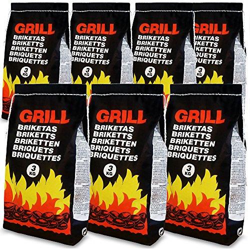 Deuba 21 Kg Grillbriketts | 7 x 3kg | Holzkohle Grillkohle Holzkohlebriketts Holzkohlegrill Grill