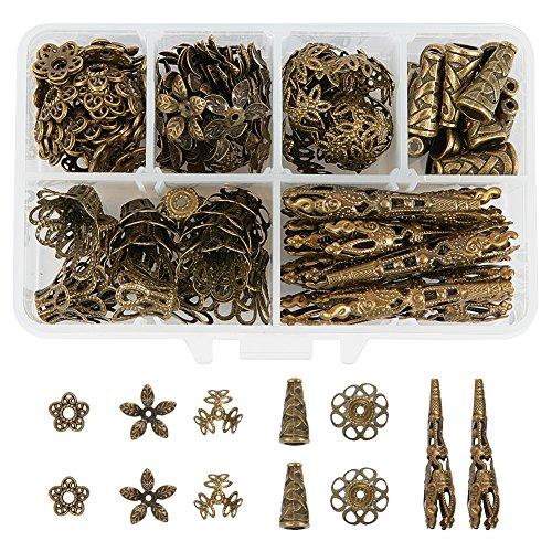 PandaHall Elite - 180Pcs tibetischen Stil Perle Hüte Bead Cones Bead Caps Legierung Perle Bead und Eisen Bead, Multi-Blüten, Antike Bronze, 12~41mm
