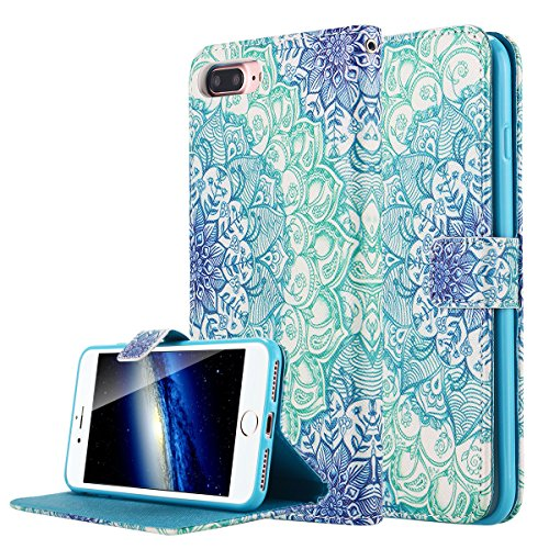 iPhone 7 Plus cellulare, iPhone 7 Plus Case, motivo lontect Fn1415 PU Pelle Stand spazio percussione accessori per Case Cover con supporto carte Steckplatz per Apple iPhone 7 Plus a fiori