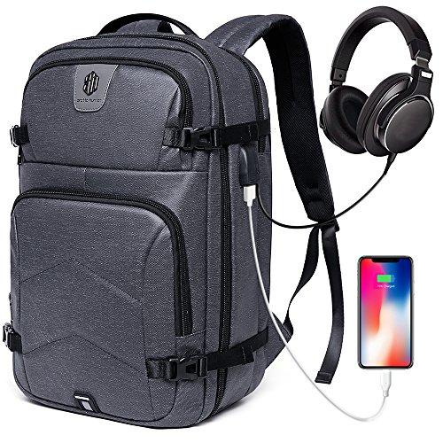 Large Travel Laptop Backpack Men & Women, School Backpack Water Resistant Work Business College Travel Backpack USB Charging Port & Headphone Interface Fits Under 17'' Laptop (Dunkel Grau)