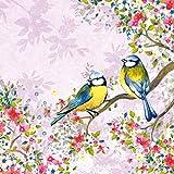 Ambiente Pack de 20servilletas/servilletas, diseño de pájaros ver en lila–33cm x 33cm–3capas