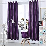 "Diamante Ring Top Curtains - Eyelet Faux Silk Curtain Panel (x1) ~ Purple ~ 72"" (189cm) Drop"
