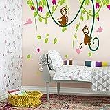 denoda Äffchen auf Lianen - Wandsticker (Wandsticker Wanddekoration Wohndeko Wohnzimmer Kinderzimmer Schlafzimmer Wand Aufkleber)