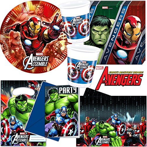 101-teiliges * AVENGERS ASSEMBLE * PARTY SET für Kindergeburtstag oder Motto-Party für bis zu 8 Kinder: Teller, Becher, Servietten, Einladungen, Tischdecke, Partytüten, Luftschlangen, Luftballons, u.v.m. // Mottoparty Thor Iron Man Hulk Captain America Hawkeye Black Widow