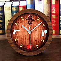 Preisvergleich für DIDADI Alarm clock Kreative Holz Farbe kleine alarm Continental antikes Bett desktop clock desktop clock Mute...