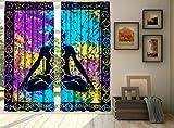 Hippie Curtains Indian Tie Dye Mandala Yoga Zen Yoga Decor, Boho Hippie Human Body Meditation, Living Room Bedroom Curtain Panel Set By Bhagyoday Fashions