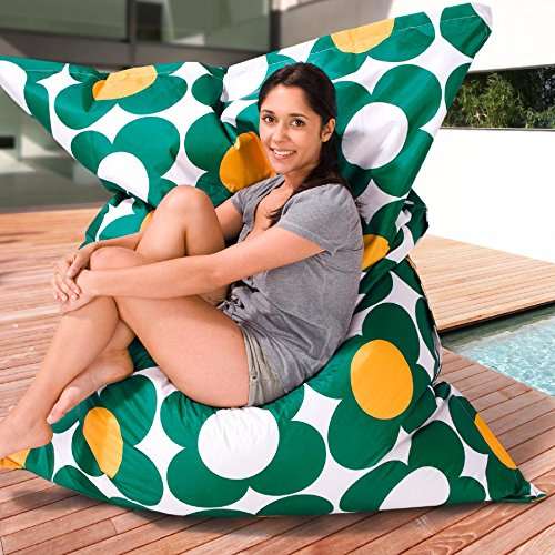Smoothy OUTDOOR/INDOOR Sitzsack Nightflower GRÜN-GELB High-Tec Nylon 180 cm x 140 cm - wetterfest - Made in Germany - 30 Jahre Garantie