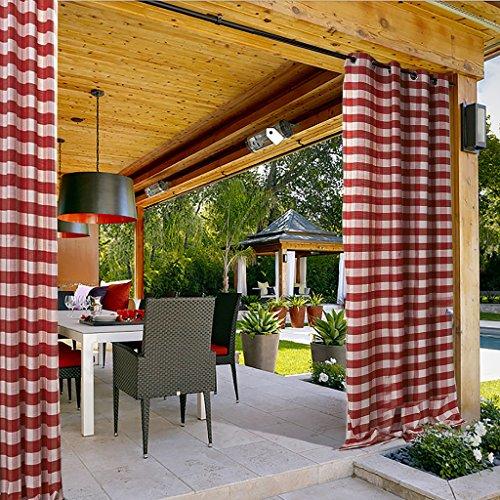 Gingham Plaid Outdoor-Vorhang 381B x 244H (1 panel) Halterungsöse für Vorhalle, Pergola, Cabana, überdachte Veranda, Aussichtspunkt, Dock und Strandhaus, Weiß Rot (Gardinen, 63 Zoll Länge)