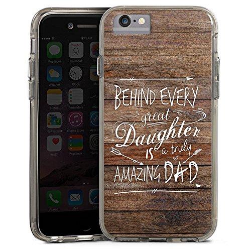 Apple iPhone X Bumper Hülle Bumper Case Glitzer Hülle Vatertag Spruch Dad Bumper Case transparent grau