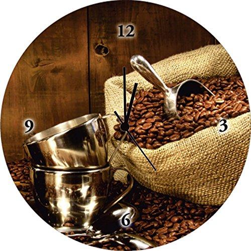 Parete-orologio digital-Stampa su vetro impulsfoto-meccanismo silenzioso Artland Sandralise sacco caffè