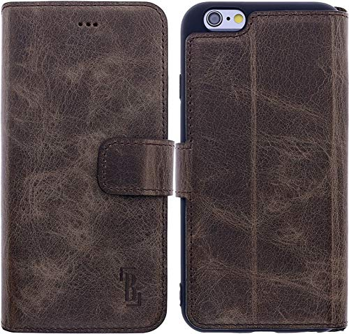 Burkley Hülle kompatibel mit iPhone 6 / 6S - Rindsleder Handyhülle für Apple iPhone 6 / 6S - Handy Wallet Case Cover mit RFID Schutz