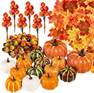 Whaline 160 Pcs Autumn Artificial Maple Leaves, Harvest Pumpkins, Gourds, Acorns and Orange Berry Stems Set, F