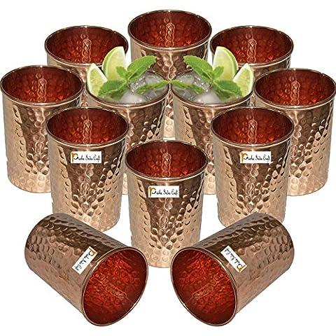 Set di 12 - Prisha India Craft ® rame Acqua Bicchiere Tumbler - fatti a mano bicchieri di acqua - per il viaggiatore tazza di rame per l'Ayurveda benefici - Natale articolo regalo - Bicchiere Viaggiatore