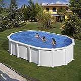Pool GRE Stahlwand Weiss Oval - 610 x 375 x 132 cm