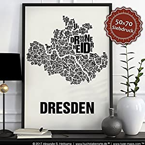 Dresden Buchstabenort Schwarz auf Naturweiß