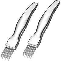 Sonline Paquet de 2 Shred Silk The Knife Hachoir à LéGumes en Acier Inoxydable Oignon Coupe-Ail Food Kitchen Speedy…