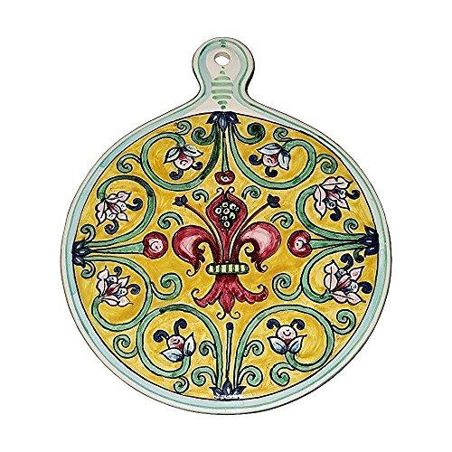 CERAMICHE D'ARTE PARRINI- Ceramica italiana artistica , sottopentola decorazione giglio , dipinto a mano , made in ITALY Toscana