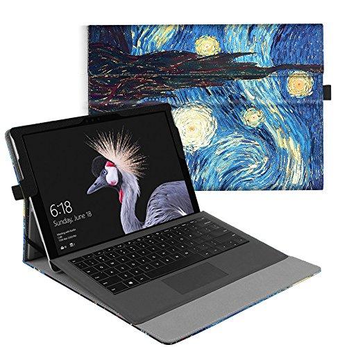 Fintie Hülle für Microsoft Surface Pro 6 (2018) / Pro 5 (2017) / Pro 4 / Pro 3 - Multi-Sichtwinkel Hochwertige Tasche Schutzhülle aus Kunstleder, Type Cover kompatibel, Sternennacht