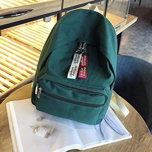 Donna Scuola Borse, Tefamore Moda Tela Solido Viaggio Zaino (Nero) verde