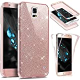 EUWLY Coque Samsung Galaxy S5,Coque Silicone Gel 360 Protection intégral Samsung Galaxy S5 Glitter Etui,[Complet Avant + Arrière Full-Body 360 Coverage Protective] Bling brillants Paillette Housse Souple TPU Full Protection Cover Integrale Avant Et Arri