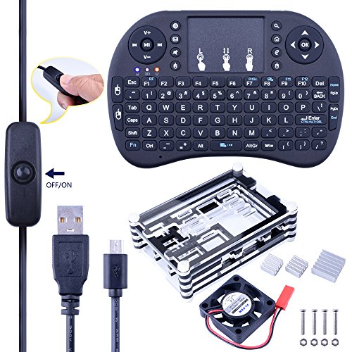 6 in 1 Professional Kit for Raspberry Pi 3 2 B and Pi B+,black Sliced 9 Layers Case Box + Cooling Fan + Wireless Mini Keyboard + 2pcs Micro USB Cable (one with Turn/on Switch)+Heat sinks SC03