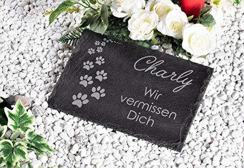 CHRISCK design Gedenktafel mit Gravur Grabstein Schiefer Grabplatte Pfoten Pfötchen 30x20 cm für Hunde und Katzen Grabschmuck