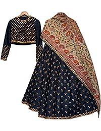 Shreebalaji Enterprise Women's Georgette Lehenga Choli (New_PerrotGreenLeh_01_Multi-Coloured_Free Size)