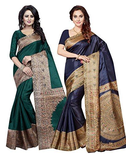 Ishin Women's Silk Saree With Blouse Piece (Combosr-5097_Multi-Coloured)