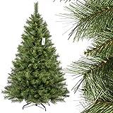 FairyTrees Weihnachtsbaum künstlich SKANDINAVISCHE Tanne, Material PVC, echte Tannenzapfen, inkl. Metallständer, 180cm