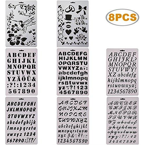 sunswei 8PCS Bullet Tagebuch-Sets, Schablone Alphabet Buchstabe Zeichnen Malen Schablonen Template für Planer/Notizbuch/Tagebuch/Scrapbooking/Journaling/Graffiti/Karte Zeichnen Malen Craft Projekte (Alphabet-schablone Karten)