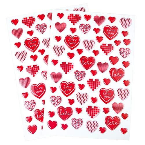 TUPARKA 2 Blatt 120 STÜCKE Valentine Heart Stickers Rote Herzen Aufkleber 3D Epoxy Aufkleber für Valentinstag