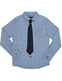 French Toast Boys' Long Sleeve Woven Poplin Roll up Shirt with Tie