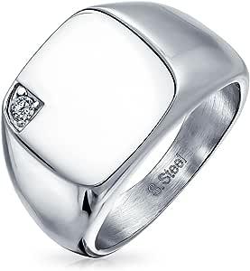 Bling Jewelry Uomini Cubic Zirconia CZ Accent Engravable Piazza Signet Anelli Peri Uomini Il Tono Dell'Argento in Acciaio Inox