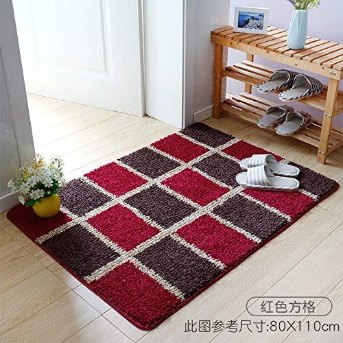 Mengjie Teppich Modern Küchenläufer Rotbraunes Quadrat mit 20 mm Dicke rutschfest Waschbar Wohnzimmer Eingangsbereich Flur Küche Strapazierfähig Pflegeleicht,60x90CM (Rotbraun Und Schwarz Teppiche)