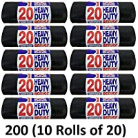 200 HEAVY DUTY BLACK REFUSE SACKS STRONG THICK RUBBISH BAGS BIN LINERS LARGE