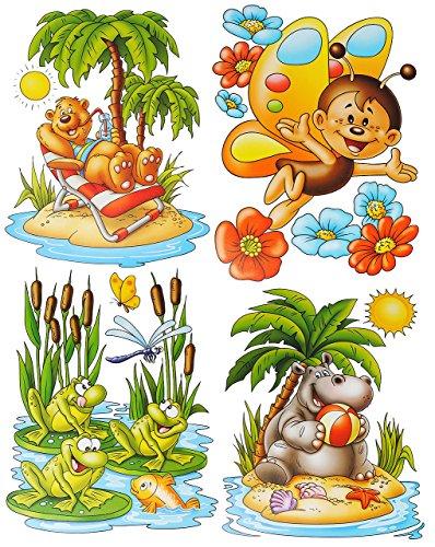 4 Bögen: Fensterbilder - lustige Tiere - Frosch - Seepferd - Schmetterling - Teddy auf der Insel - statisch haftend - Sticker Fenstersticker / z.B. für Fenster und Spiegel - Aufkleber selbstklebend wiederverwendbar - Fensterfolie Fensterdeko