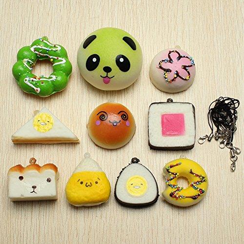 LaDicha 10Pcs Casuale Squishy Soft Sushi/Panda/Pane/Torta/Buns Telefono Cinghie